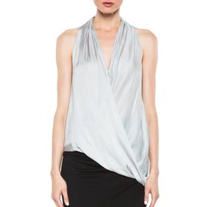 Helmut Lang silk glossy overlap sleeveless